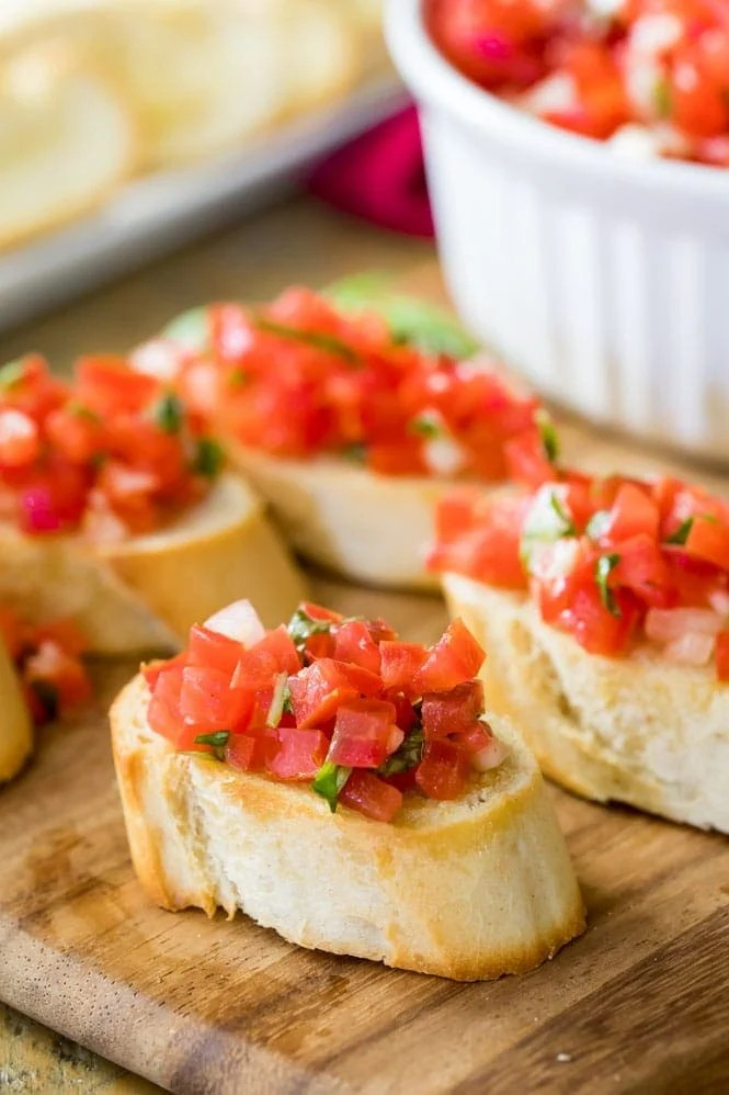 Bruschetta on a platter