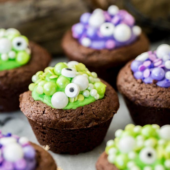 Halloween brownies with green and purple fillings