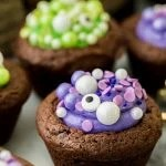 Halloween brownie with purple filling