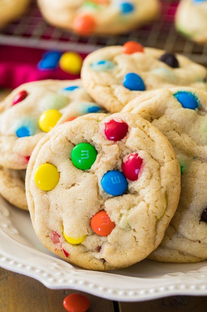 M&M cookie on plate