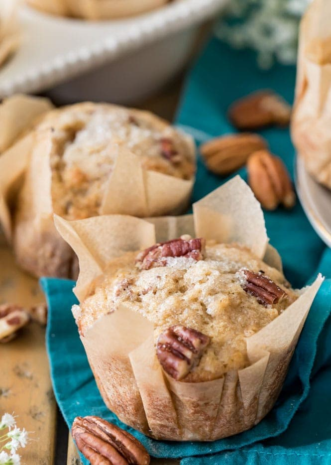 Banana nut muffin in a parchment paper muffin liner
