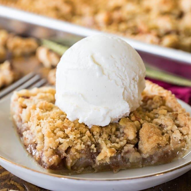 Apple slab pie with scoop of vanilla ice cream