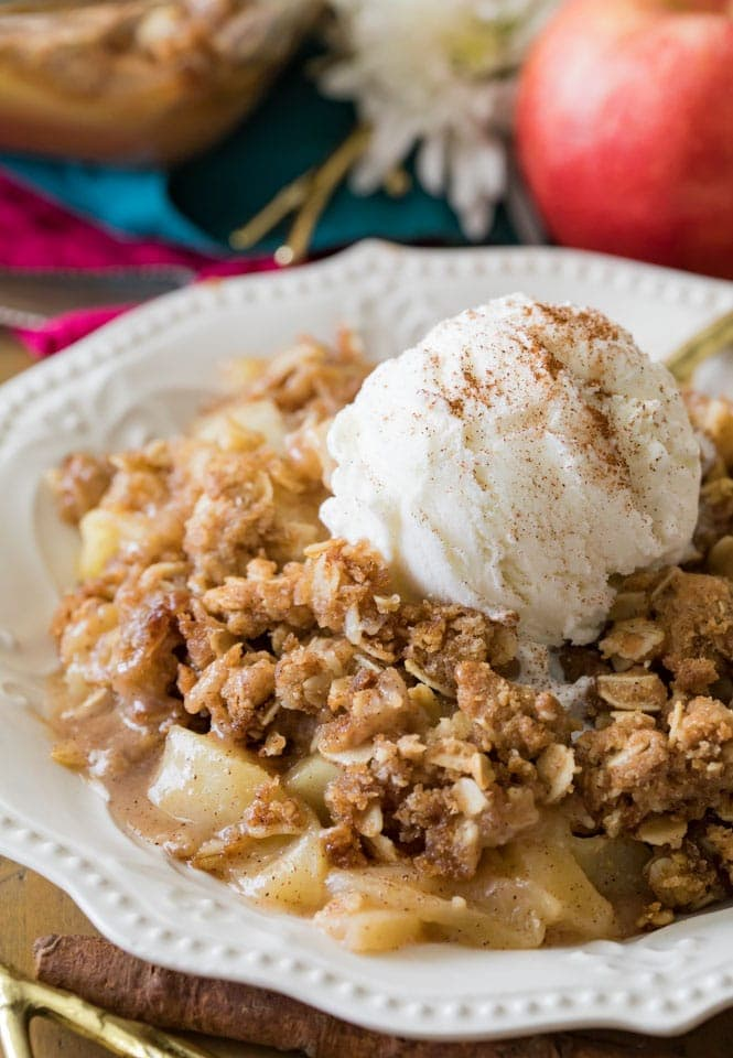 Warm apple crisp topped with ice cream