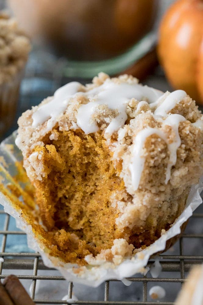 Pumpkin muffin on cooling rack, one of 12 best pumpkin recipes for fall