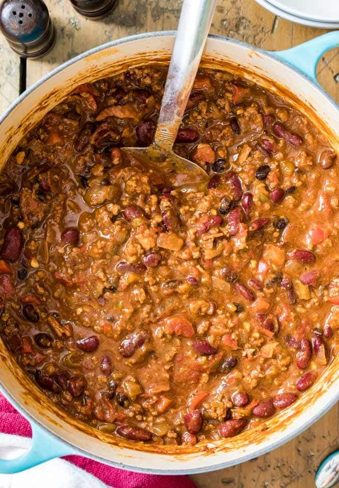 Overhead of chili recipe simmering in large pot