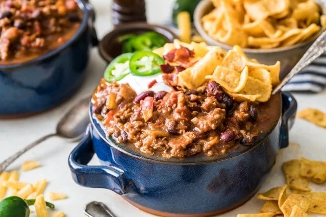 Chili in bowl with tortilla strips