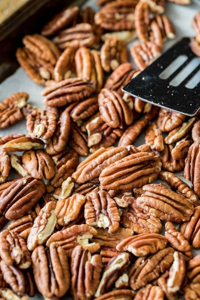 Toasting pecans for pecan pie
