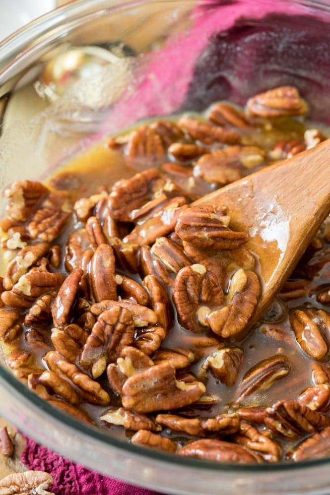 Making pecan pie filling