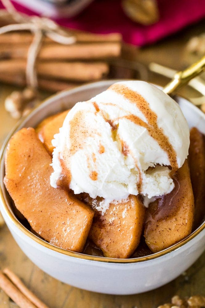 Cinnamon Baked Apples topped off with vanilla ice cream