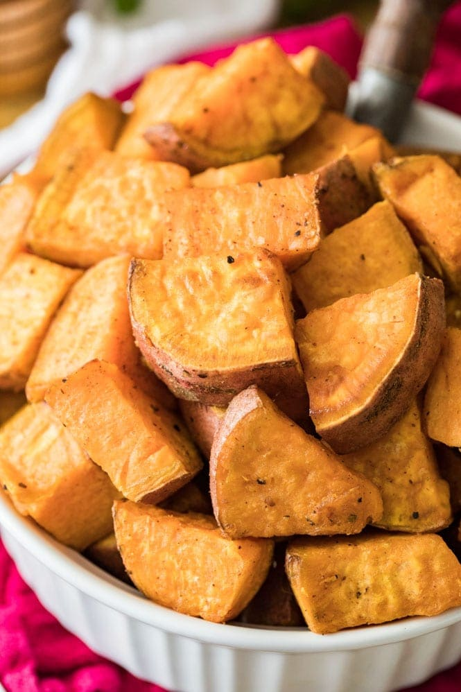 Bowl of roasted sweet potatoes