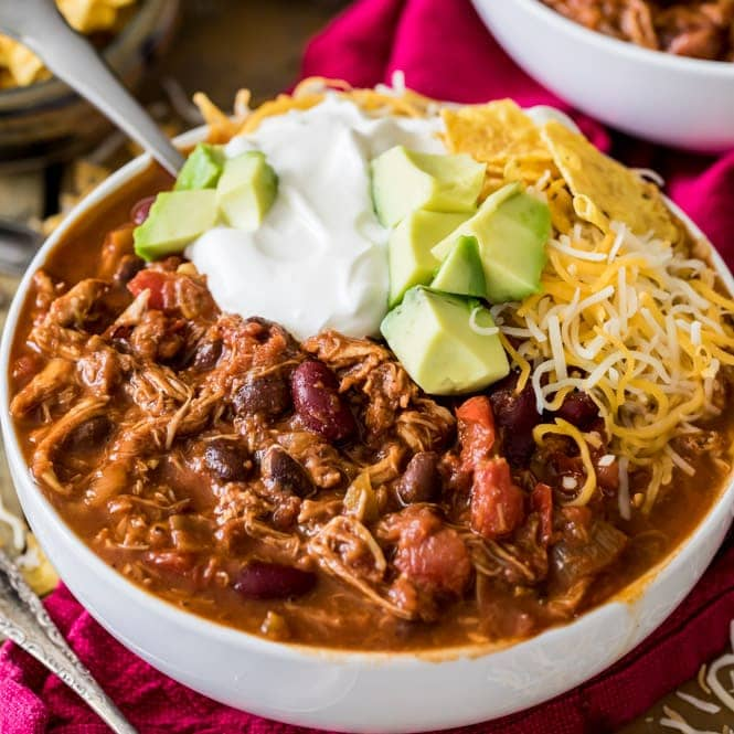 Turkey chili in bowls