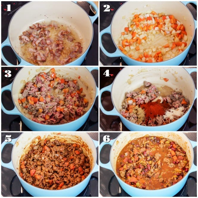 Step by step photos for making chili