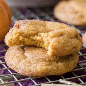 Stacked pumpkin snickerdoodle cookies