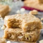 Two squares of blondies stacked