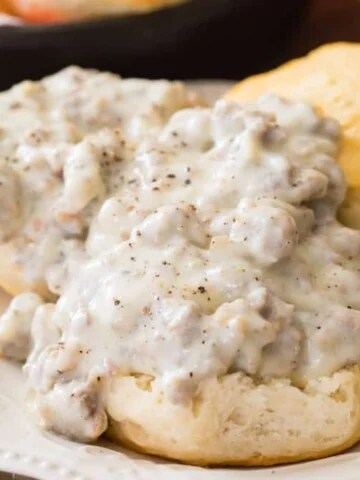Sausage gravy on biscuits