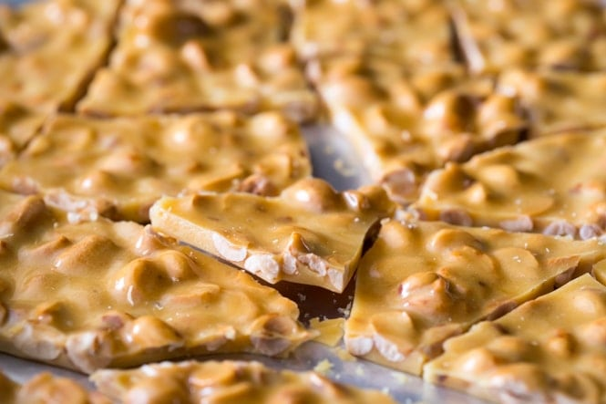 Broken pieces of peanut brittle