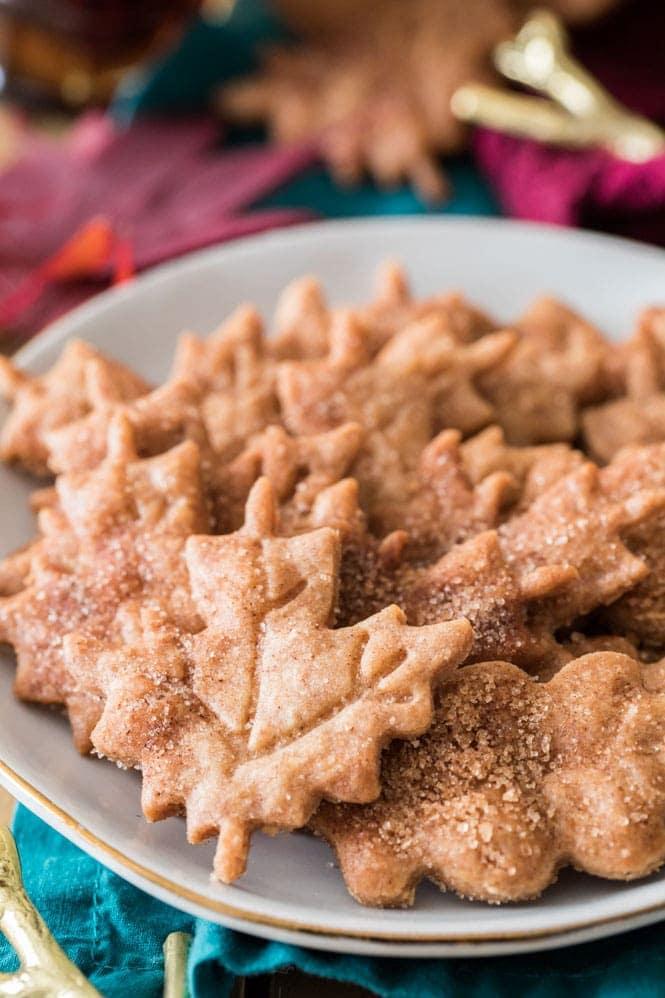 Plate full of crispy maple leaf cookies