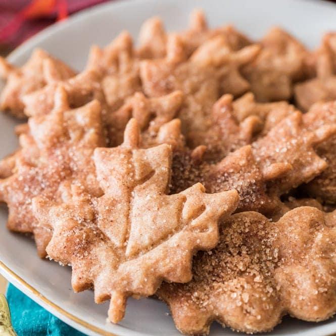 Maple leaf cookies on plate