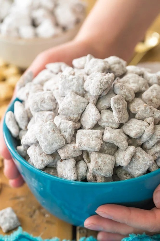 Bowl of puppy chow (cereal snack)