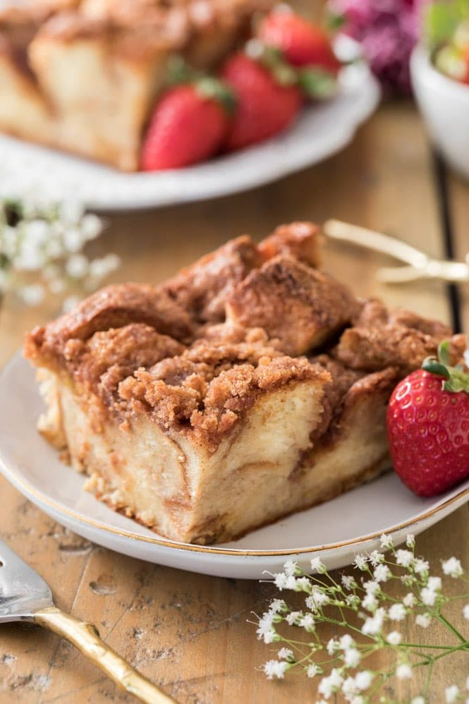 Slice of freshly baked French toast Casserole