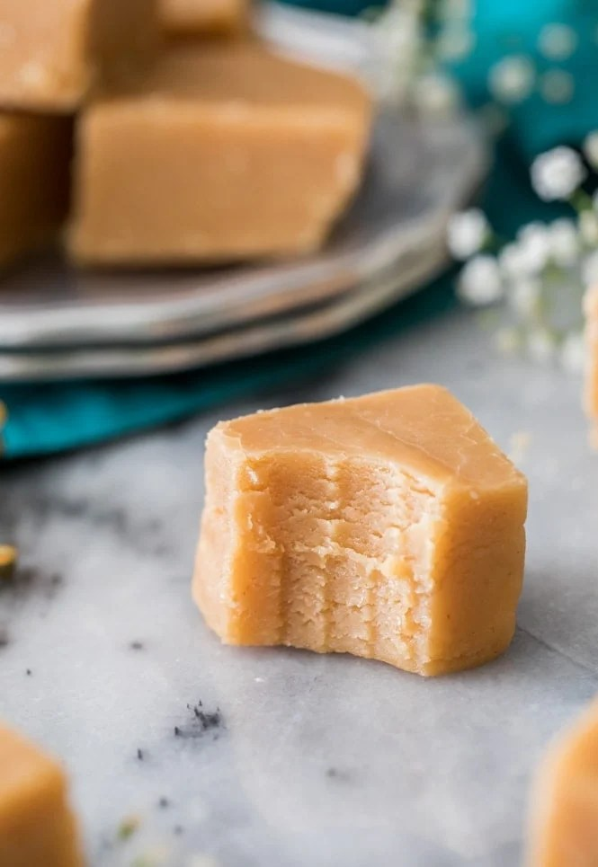 Square of fudge from creamy peanut butter fudge recipe