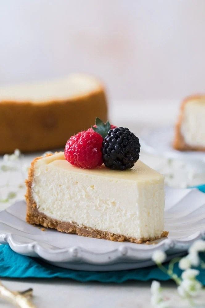 Creamy cheesecake with a bite out of it