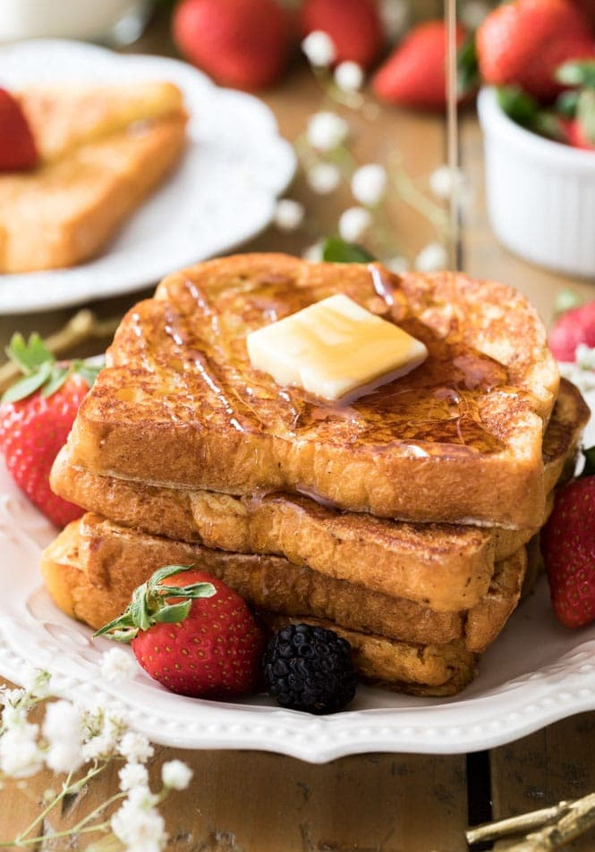 French toast recipe drizzled with maple syrup