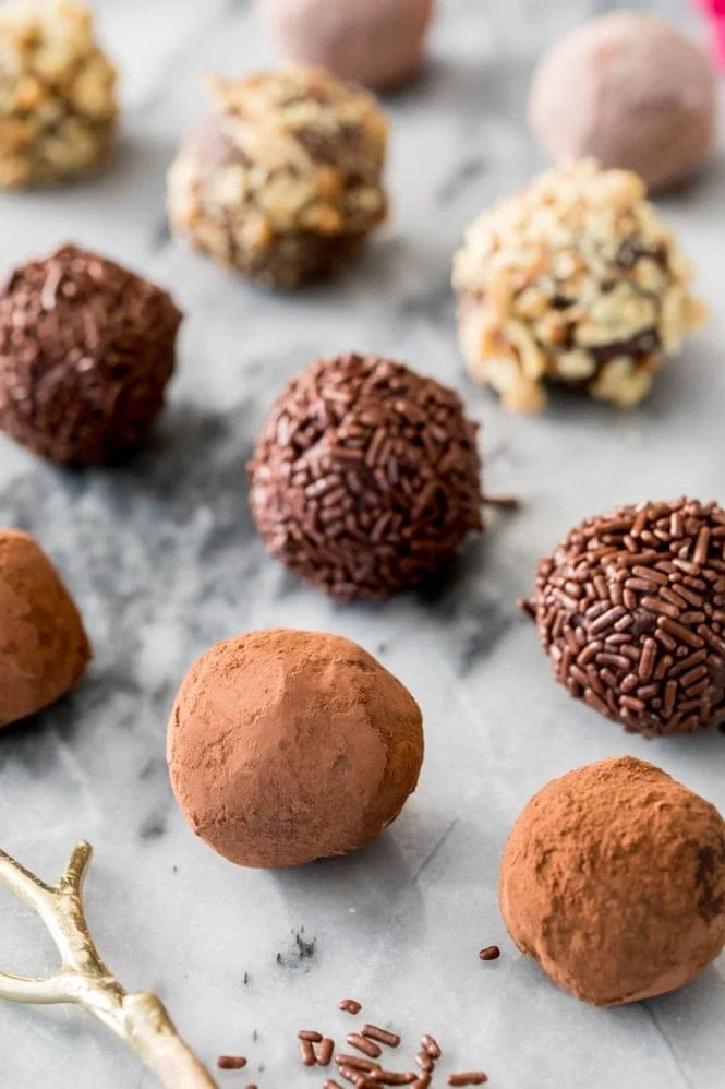Chocolate truffles with different toppings