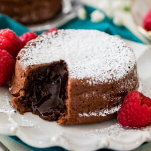 chocolate lava cake on white plate