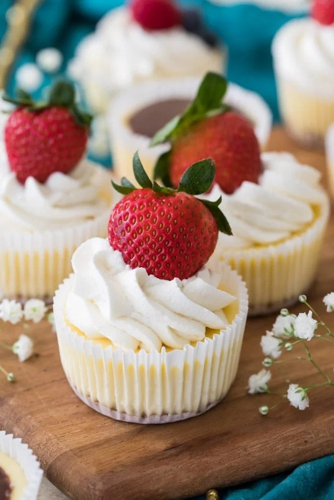 Mini Cheesecakes topped with whipped cream and fresh strawberrries