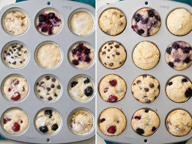 Muffin recipe, before and after baking