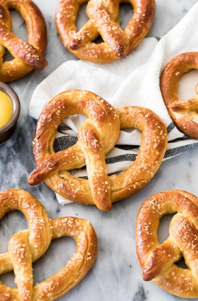 Homemade soft pretzel on cloth napkin