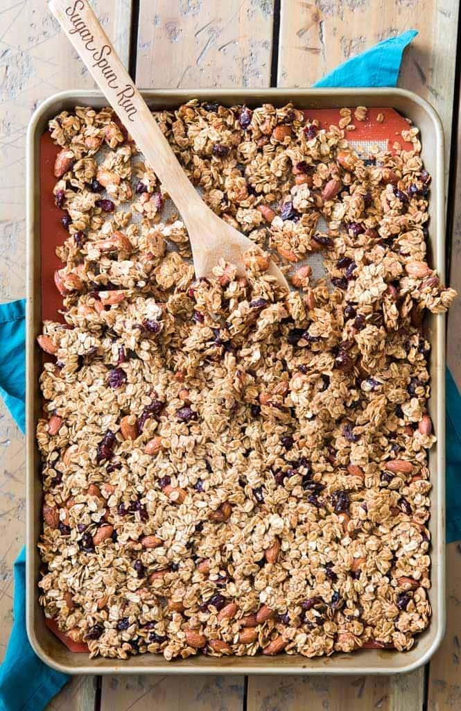 Overhead image of granola on baking sheet