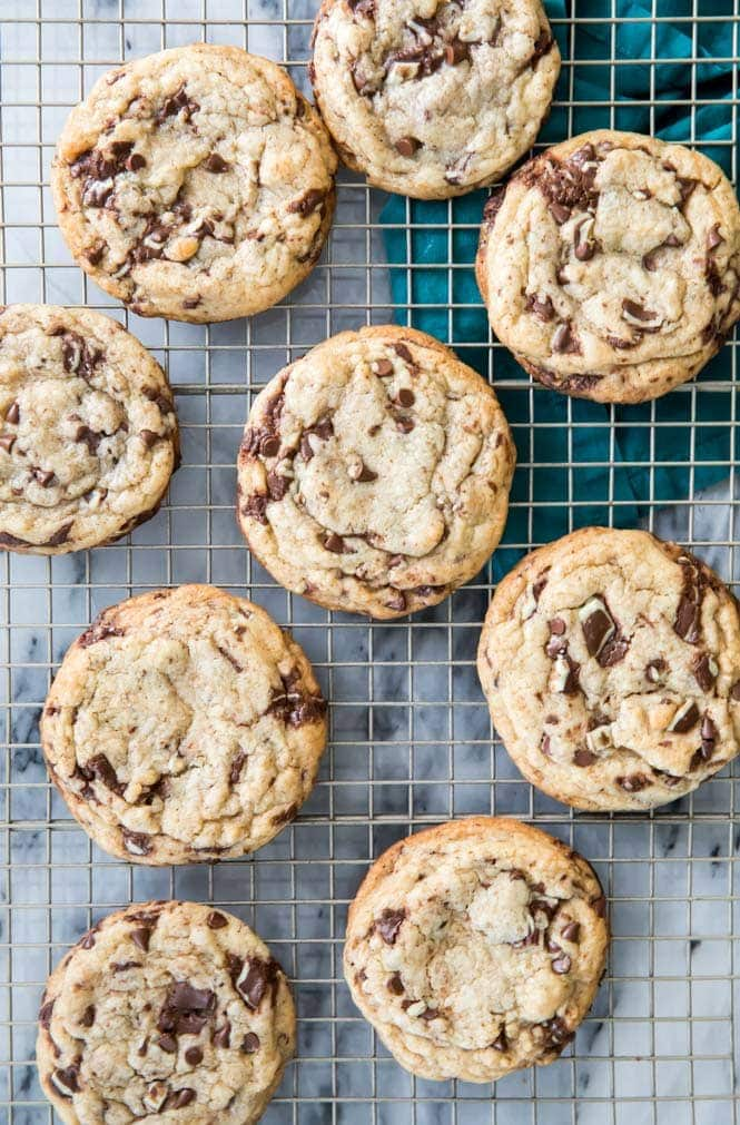 Mint Chocolate Chip Cookies cooling on cooling rack