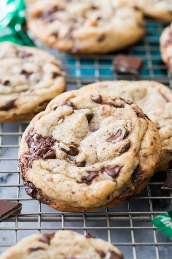 Two mint chocolate chip cookies