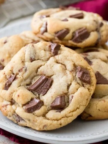 Peanut butter chocolate chunk cookies on plate