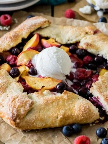 Fruit galette with scoop of ice cream