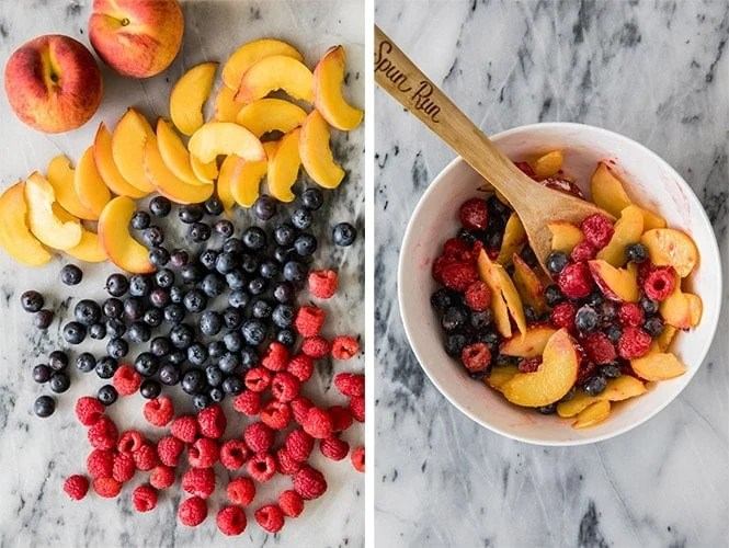 How to make fruit galette filling -- peaches, blueberries, raspberries