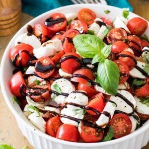 Caprese salad in bowl