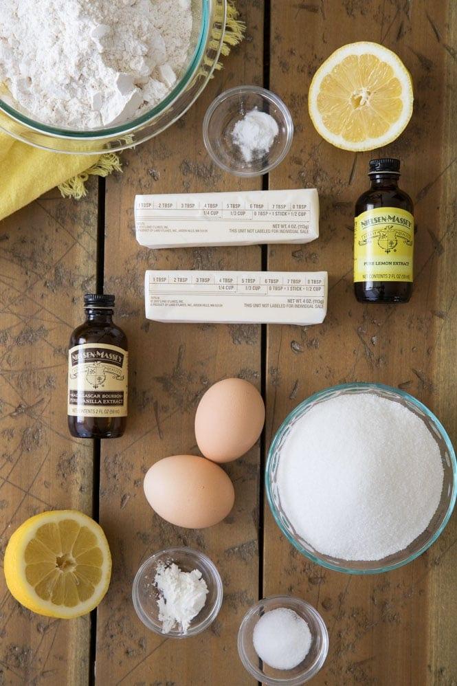 Ingredients for lemon brownies