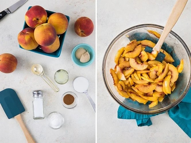 Making peach cobbler filling: (left) ingredients for peach cobbler; (right) peach cobbler filling in large glass bowl