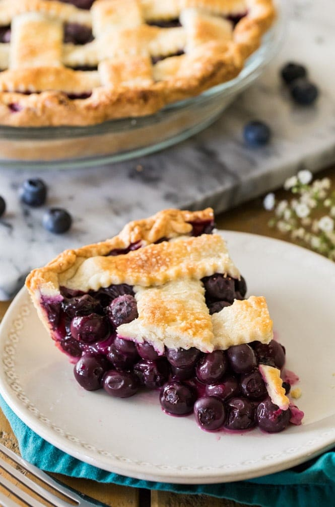 Slice of juicy blueberry pie on white plate