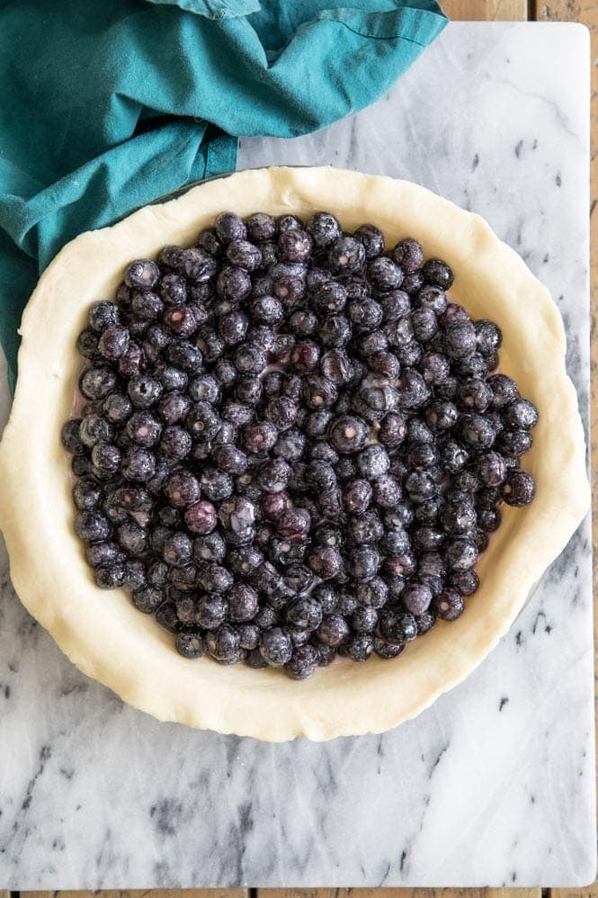 blueberries in pie shell