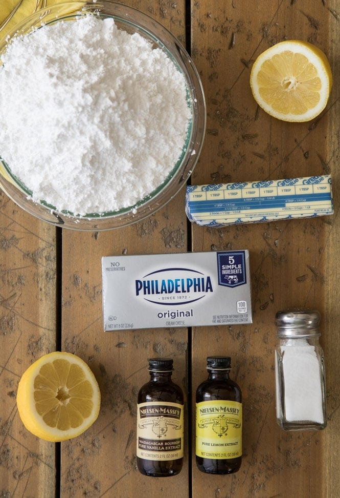 ingredients for lemon cream cheese frosting
