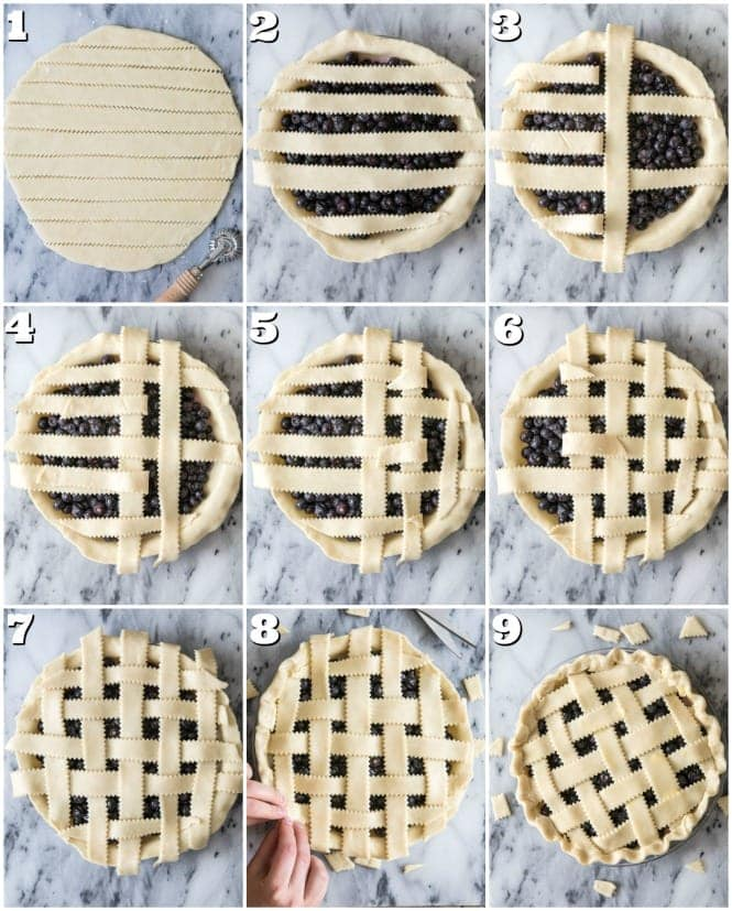 Assembling lattice top crust, step-by-step photos