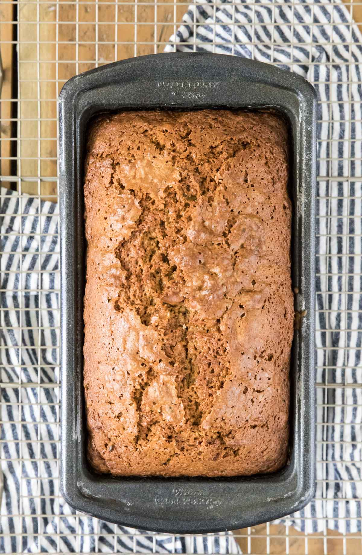 overhead of loaf of zucchini bread in pan