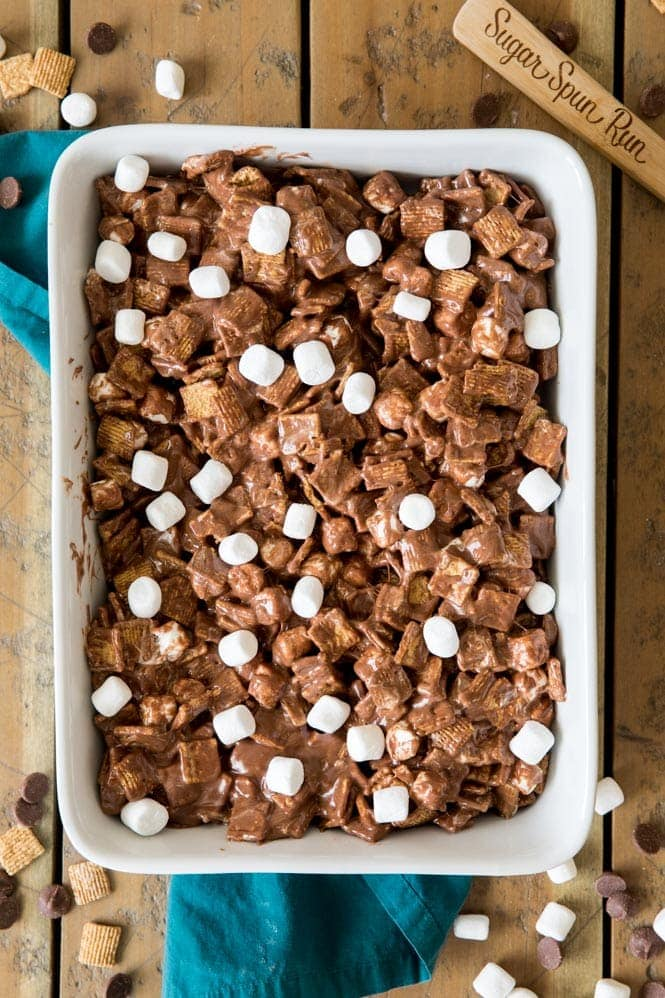 S'mores bars topped with mini marshmallows
