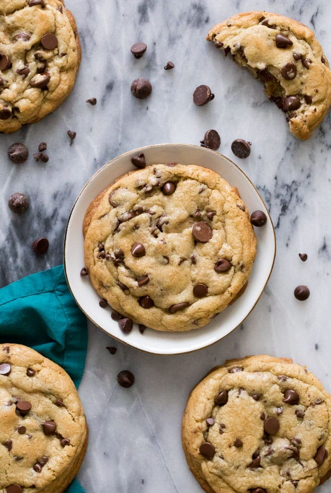 Giant chocolate chip cookie on plate