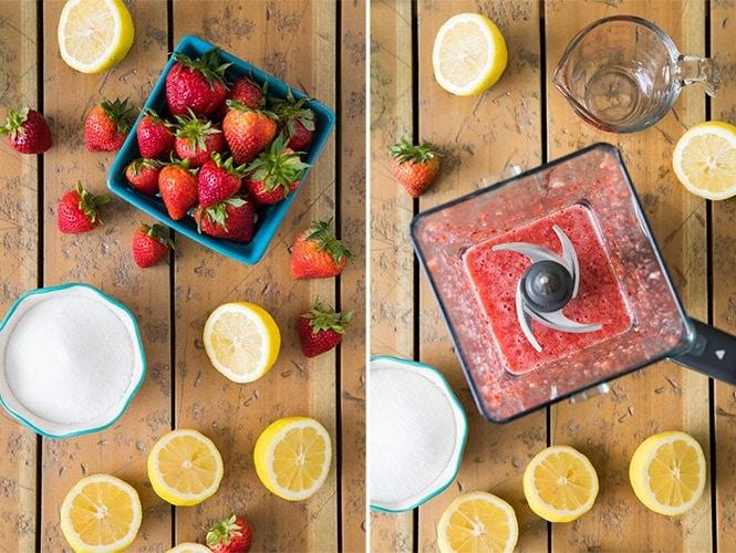 Ingredients for strawberry lemonade: puree in blender
