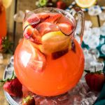 strawberry lemonade in pitcher